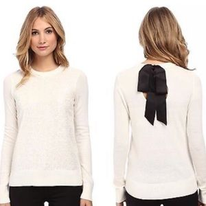 Kate Spade Fluffy Wool Bow Back Sequin Sweater XS